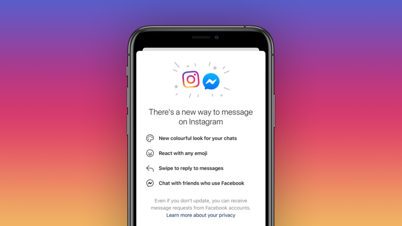 Instagram begins merging 'direct messages' with Facebook Messenger chat