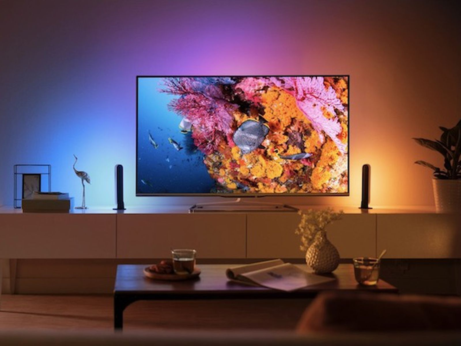 In the new Philips Hue lightstrip each LED can match your TV with various colors