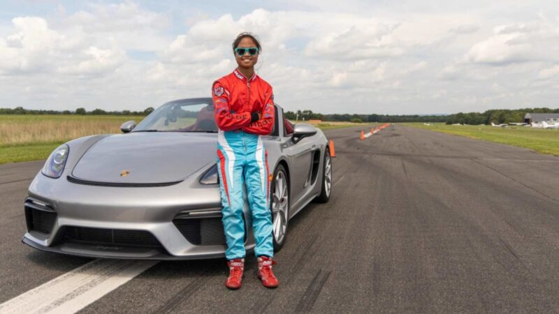 The 16-year-old girl in 2020 Porsche 718 Spyder sets the fastest slalom record