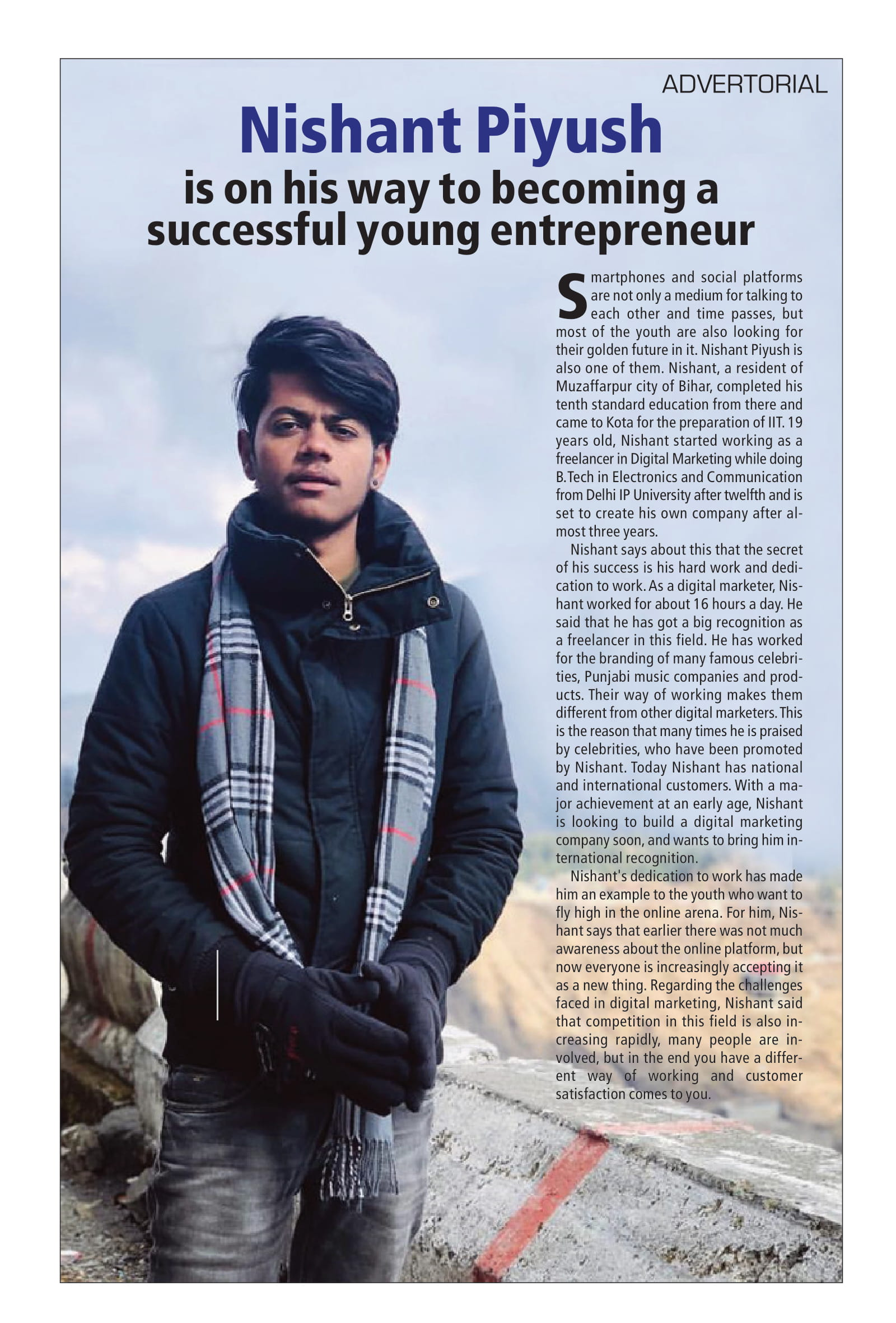 Nishant Piyush is on his way to becoming a successful young entrepreneur