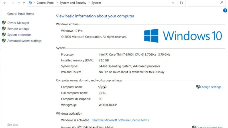 On Windows 10- Instructions to open the classic 'System' control panel