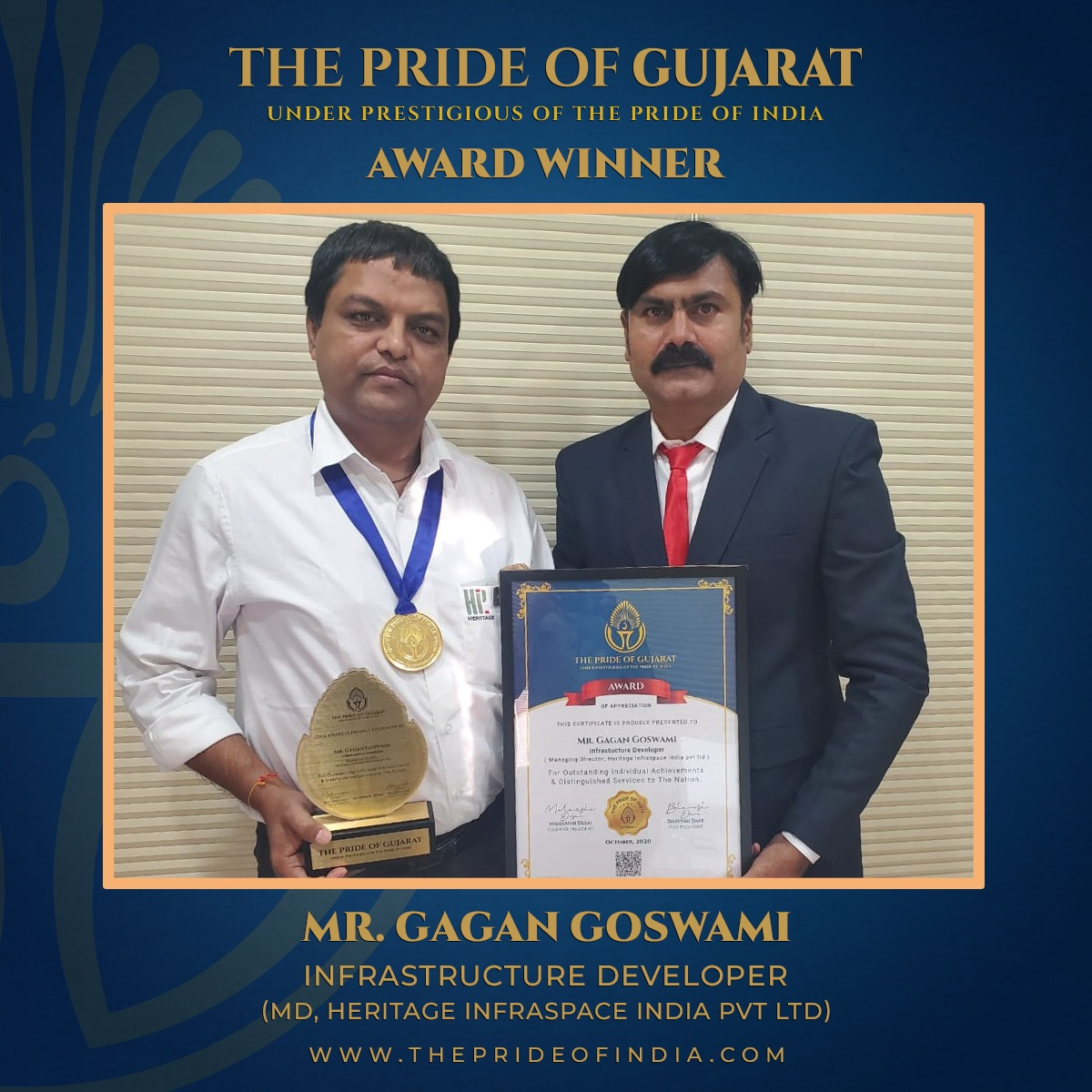Gagan Goswami received the 'Pride of Gujarat Award' 2020 for fulfilling his social responsibility towards society