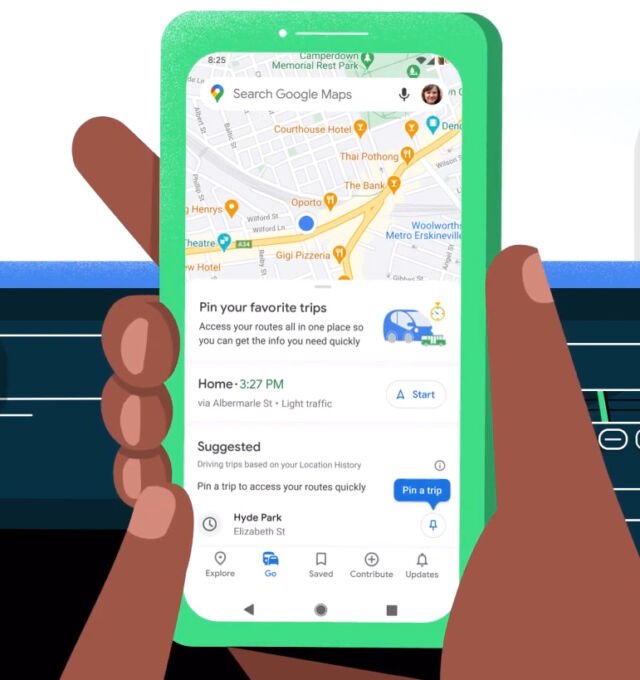 """Google Maps: New """"Go tab"""" takes you to frequently-visited places in a tap"""