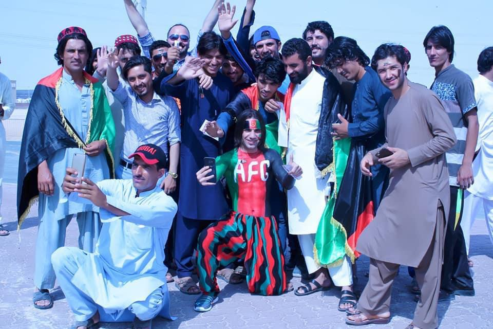 Cricket series Afghanistan and UAE .Super fan Rahim sediqi