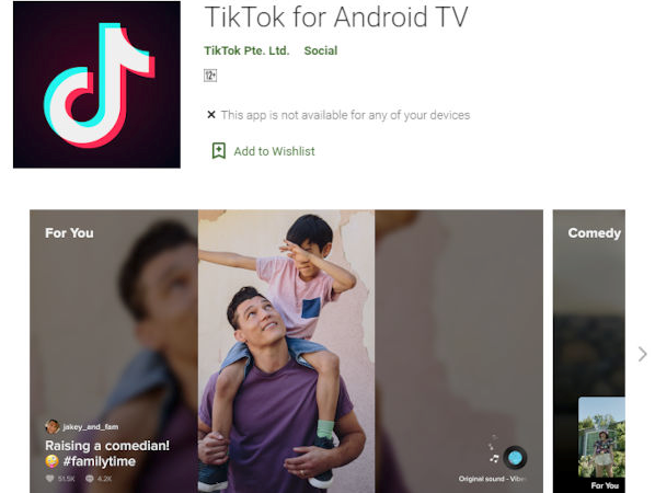 TikTok presently has an official Android TV application