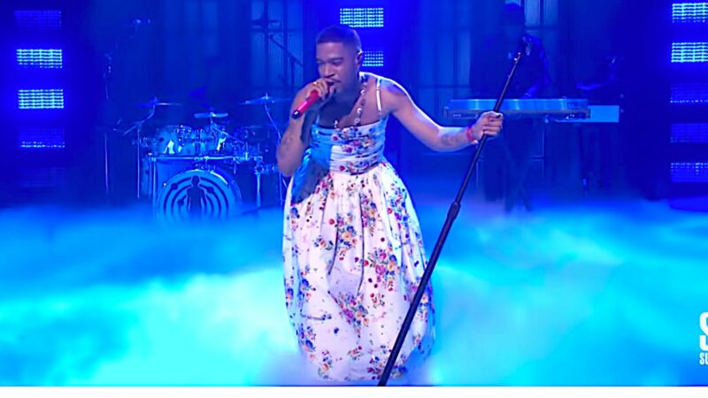 Kid Cudi wears flower dress in honor to Kurt Cobain and Chris Farley during SNL performance