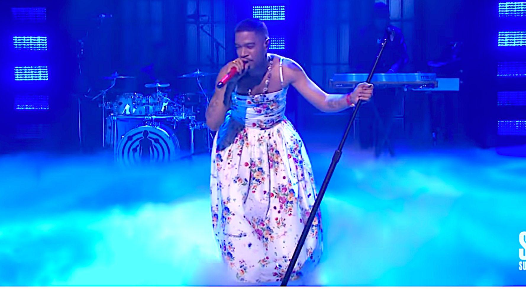 Kid Cudi wears flower dress in honor to Kurt Cobain and Chris Farley during SNL performance