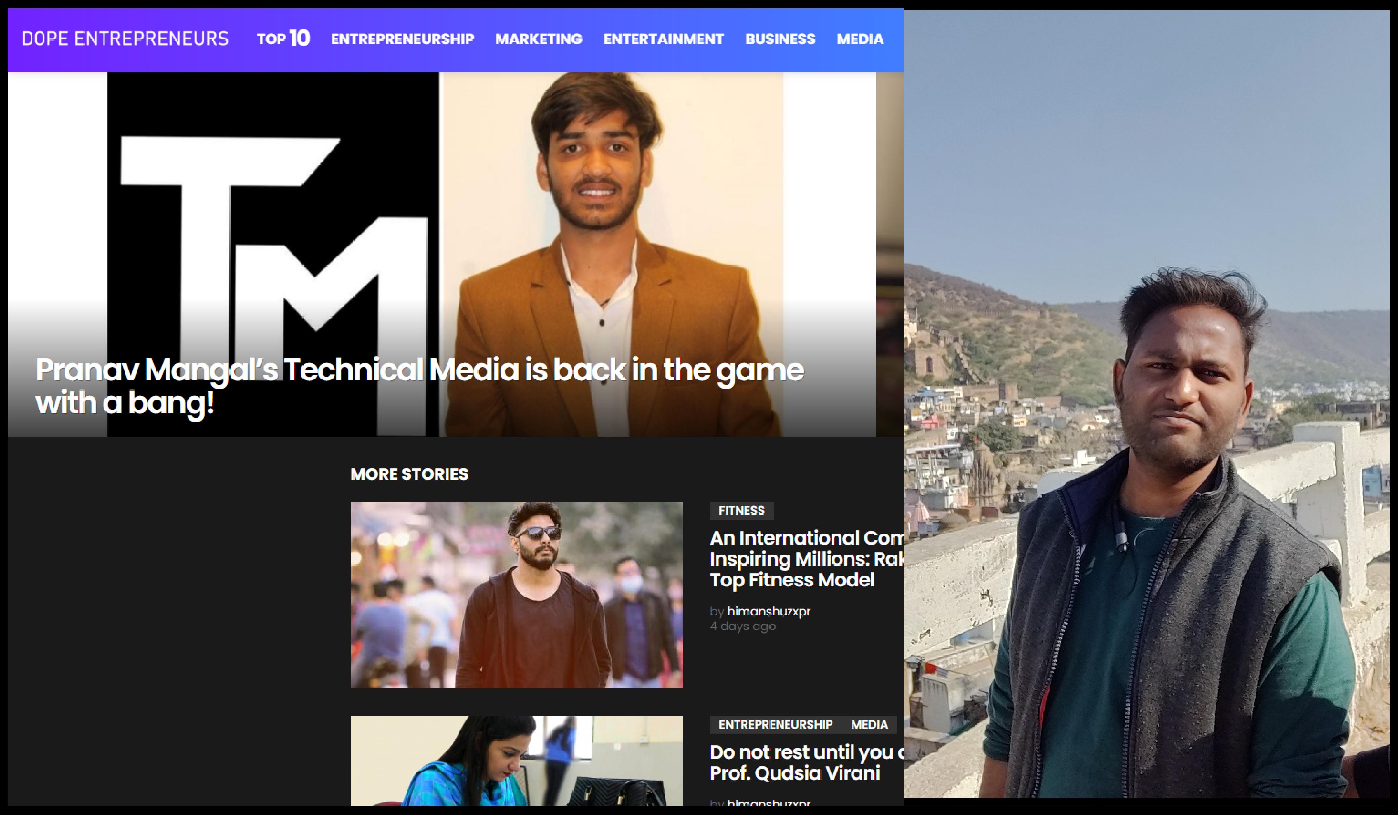 Himanshu Mahawar the Man Behind the Media Site Dope Entrepreneurs.