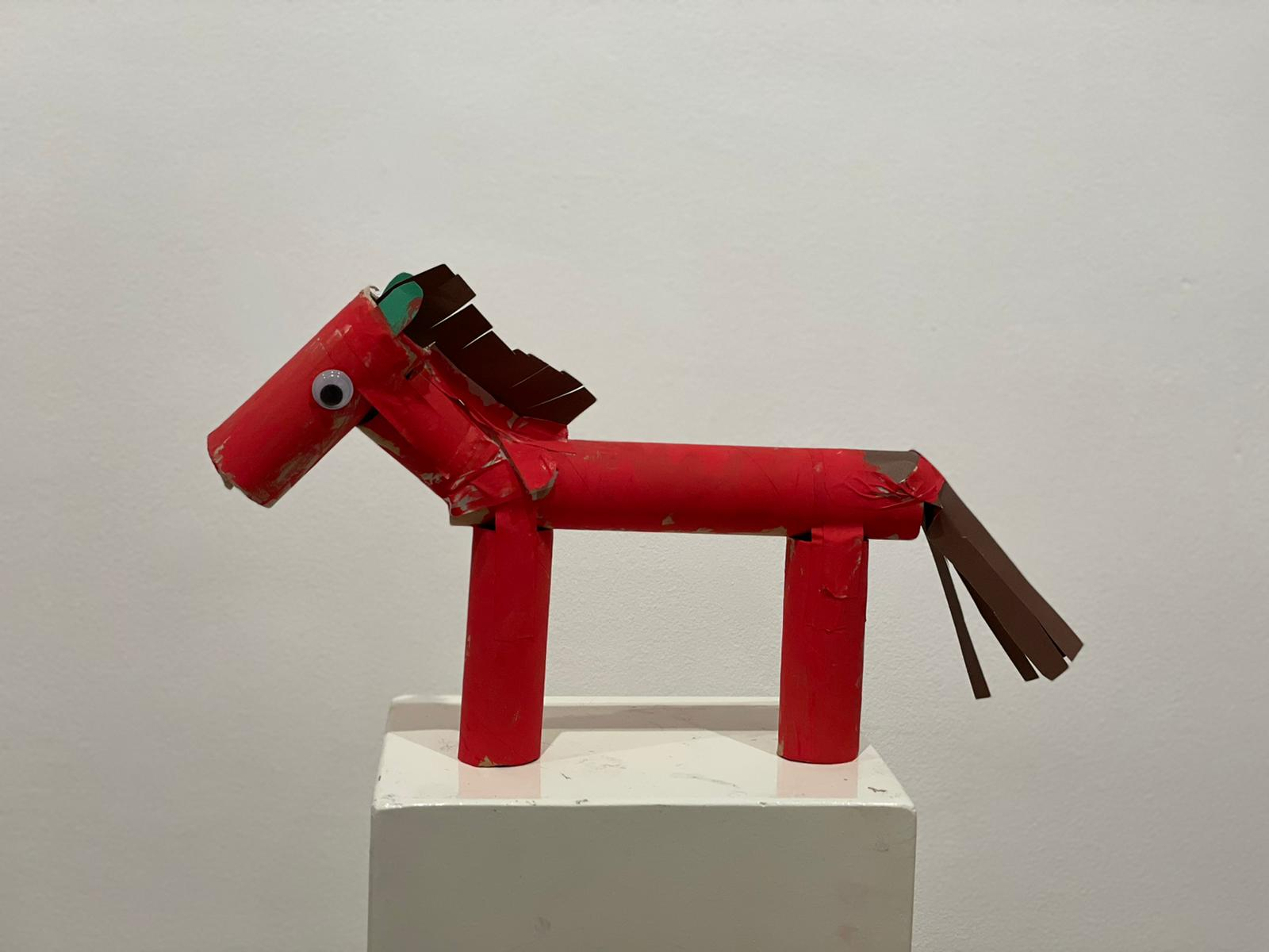 Nikan Nazari's masterpiece, a horse sculpture made up of tissue paper to be preserved in Behnoode Foundation.
