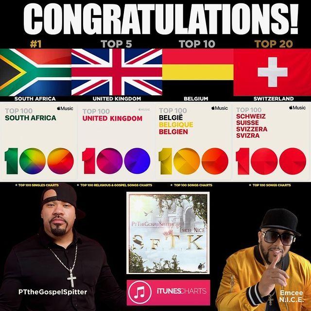 PTtheGospelSpitter is a Multi-Country Chart Topping Artist!