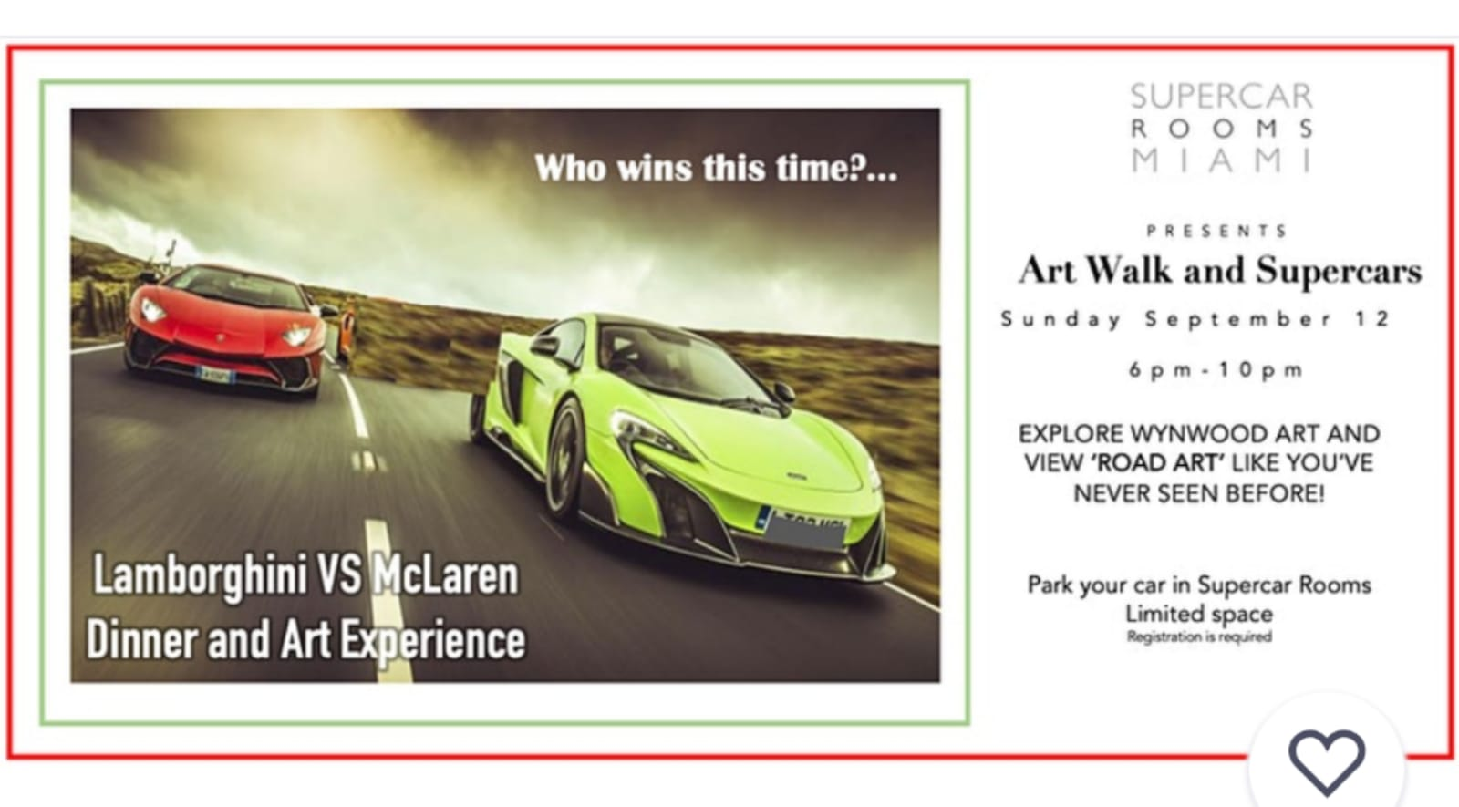 """Supercarrooms.miami curates another fusion of Supercars display, Art and a five course culinary experience.  """" Artwalk and Supercars"""""""